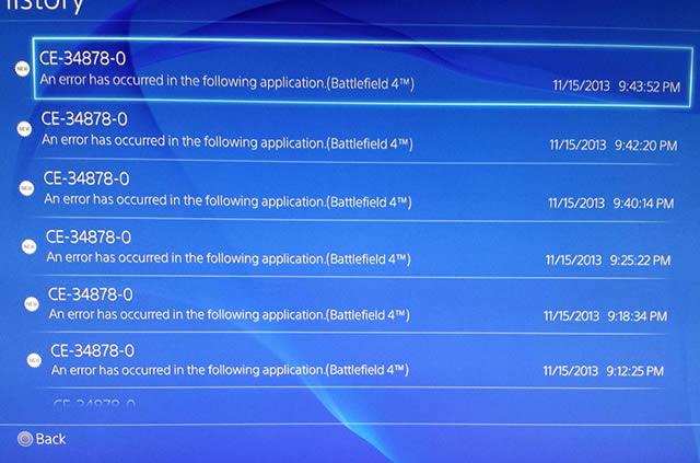 Erros no PS4