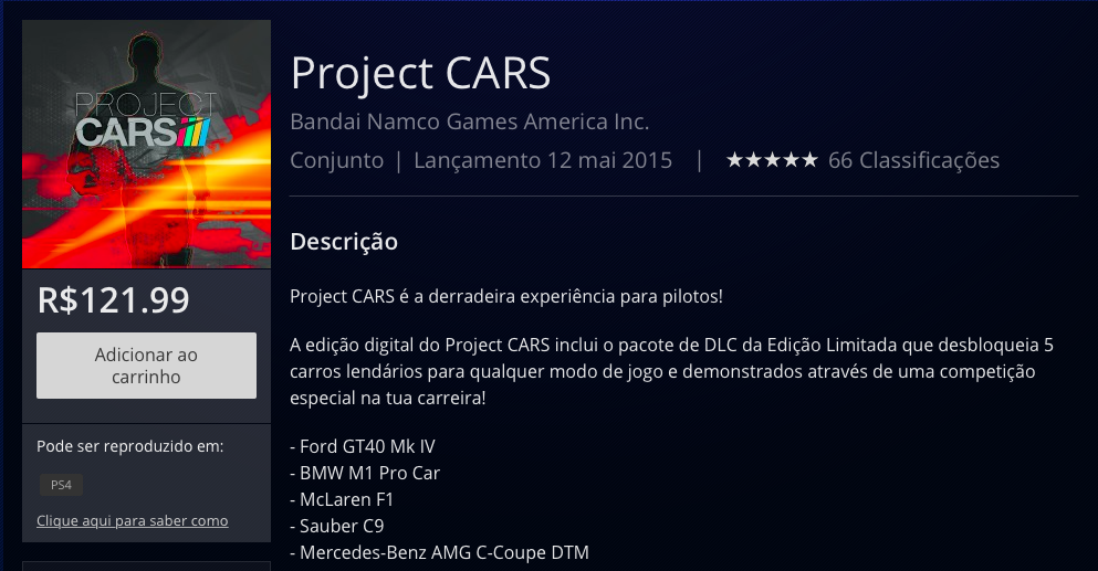 Project CARS PSN BR