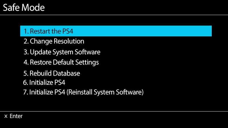 Safe Mode PS4
