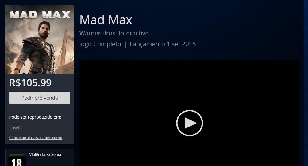 Mad Max PSN