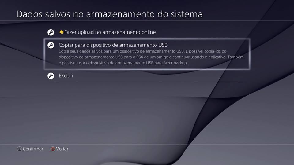Recursos do PS4 - Copiar no disp. USB