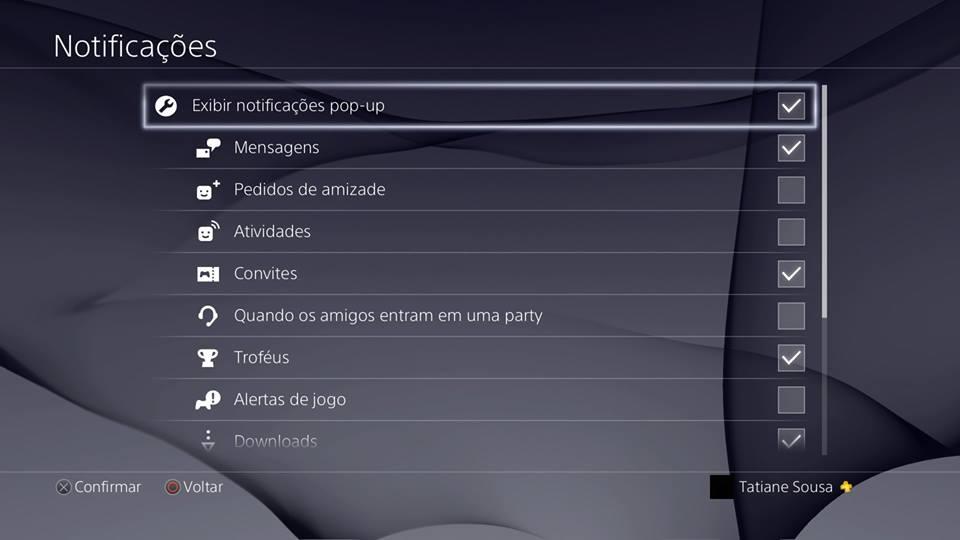 Recursos do PS4 - Notificações