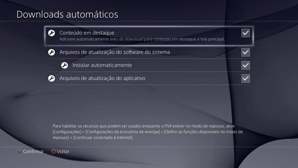 Recursos do PS4 - Downloads automáticos