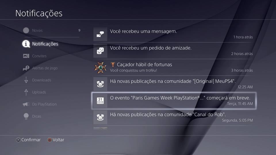 Recursos do PS4 - Notificações g