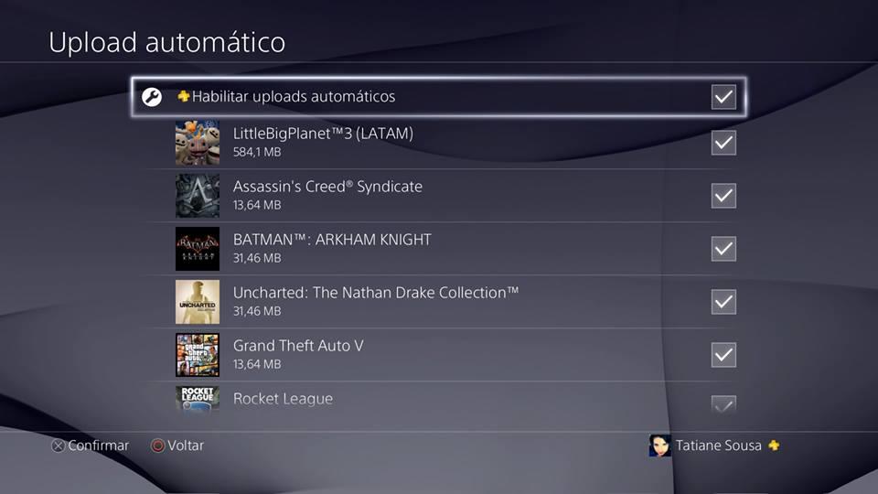 Recursos do PS4 - Upload automático de dados