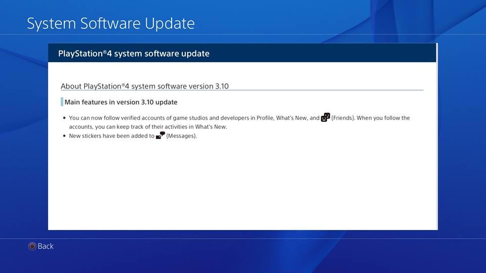 Update 3.10 PS4