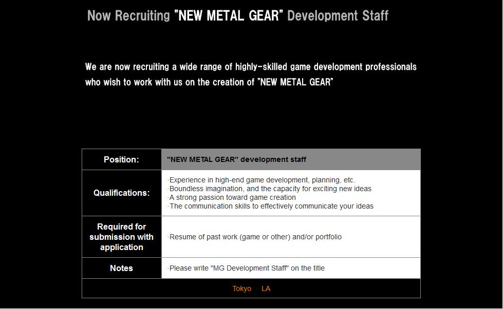Novo Metal Gear Konami