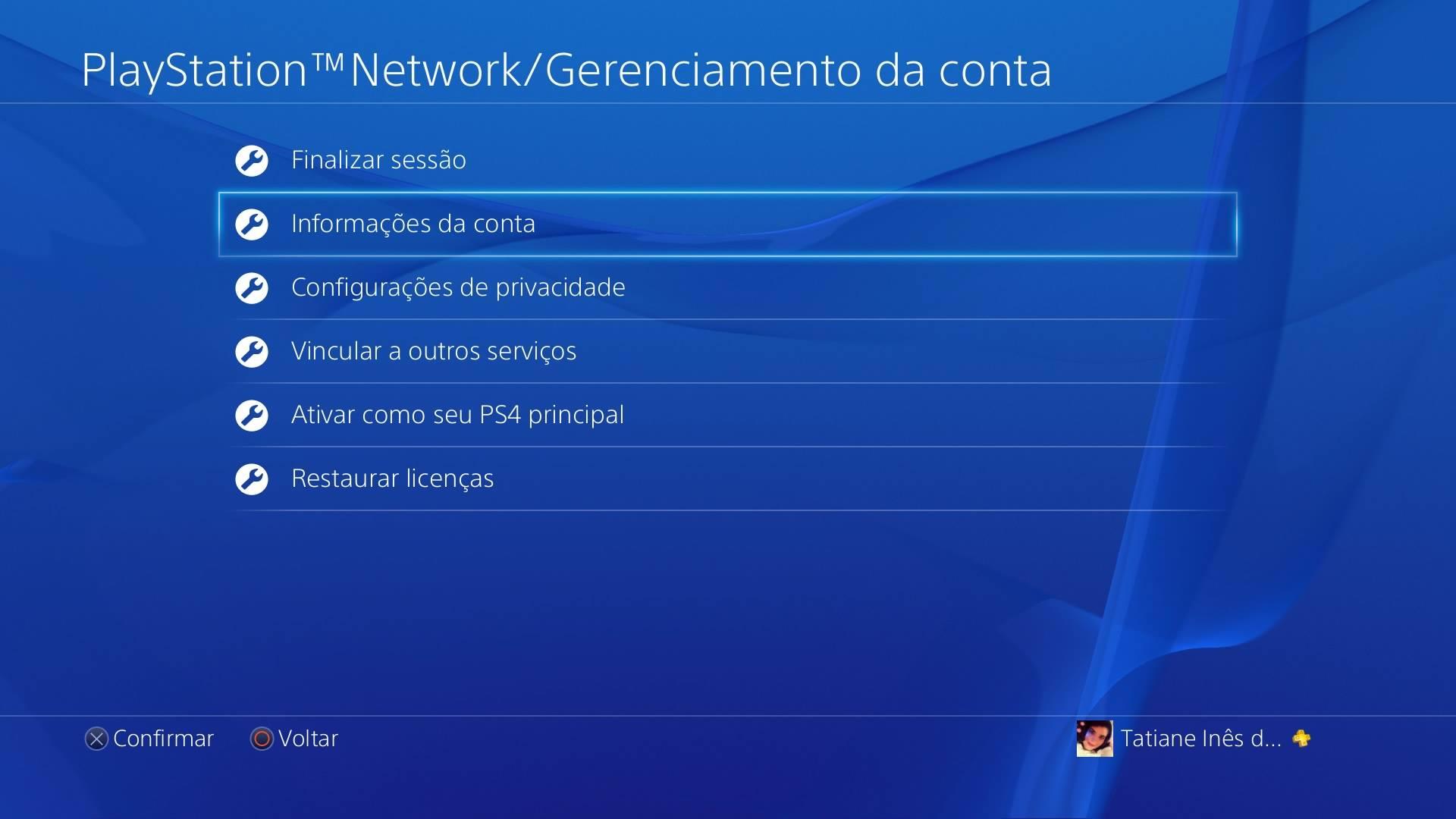 Gerenciamento da Conta PS4