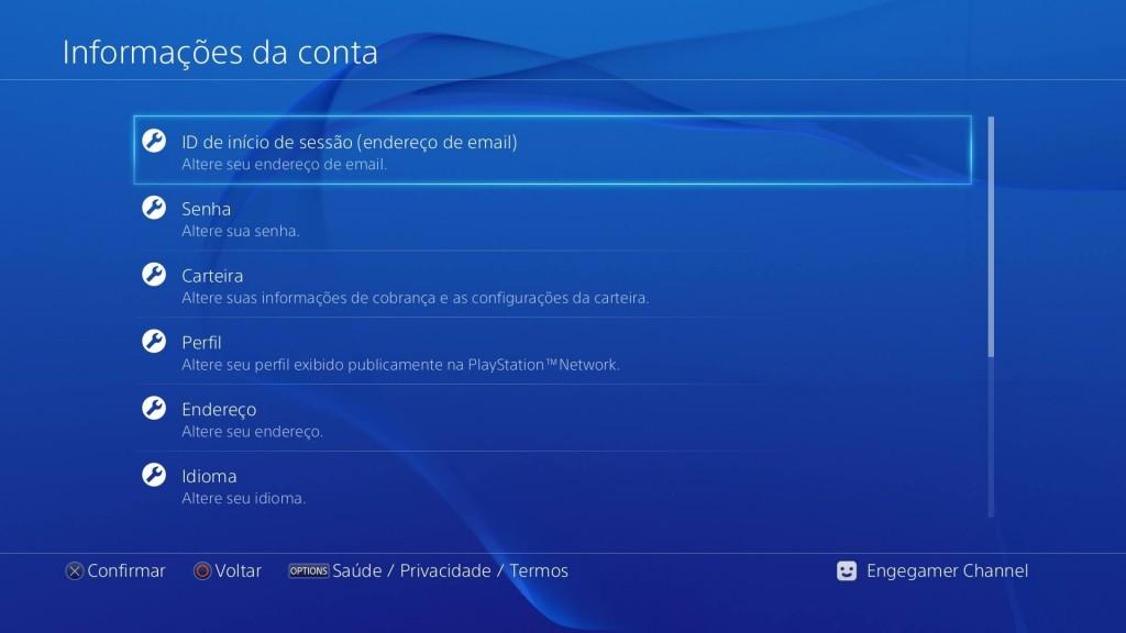 Informações da conta PS4