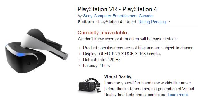 PlayStation VR Amazon