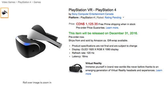 PlayStation VR preço Amazon