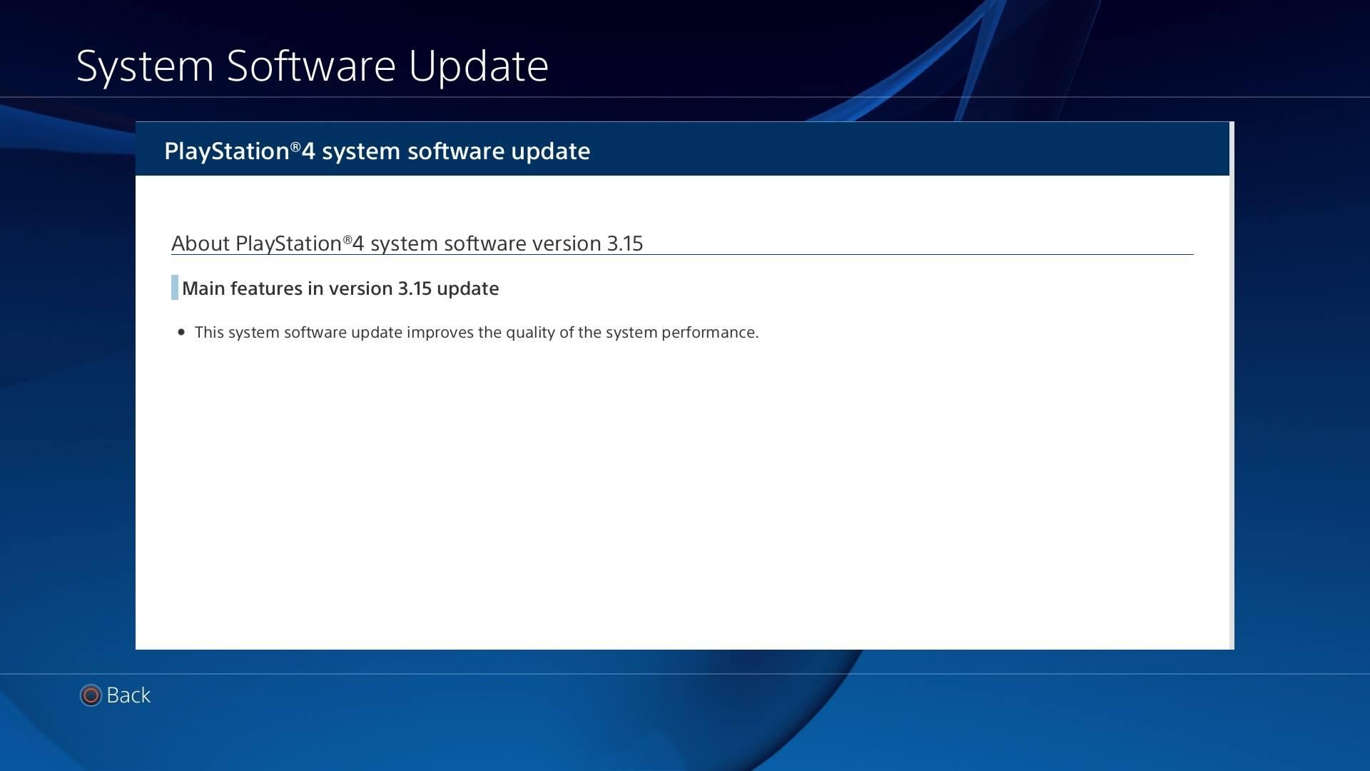 Update 3.15 PS4