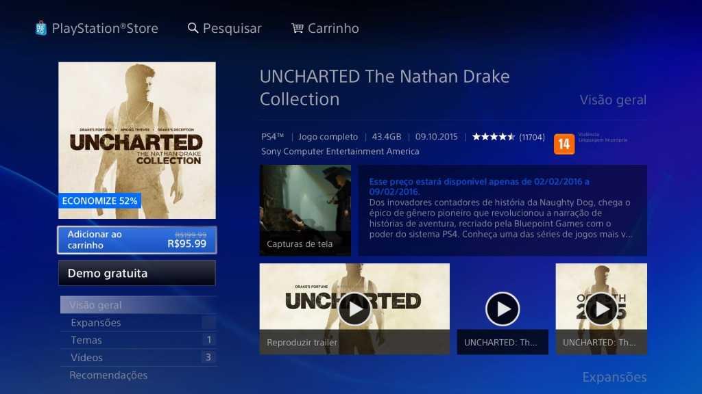Promoção PSN - Uncharted Collection