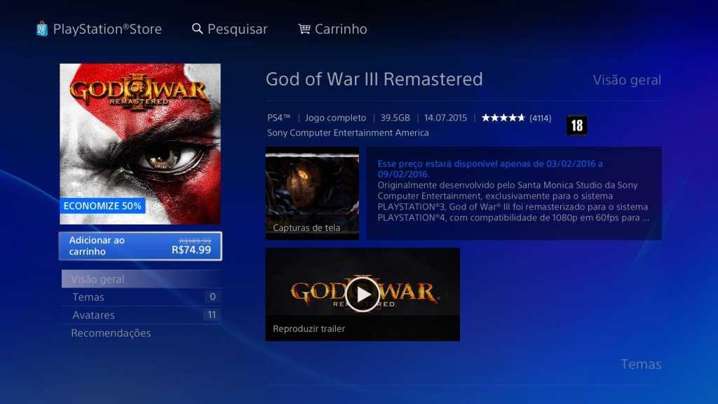 Promoção PSN God of Warr