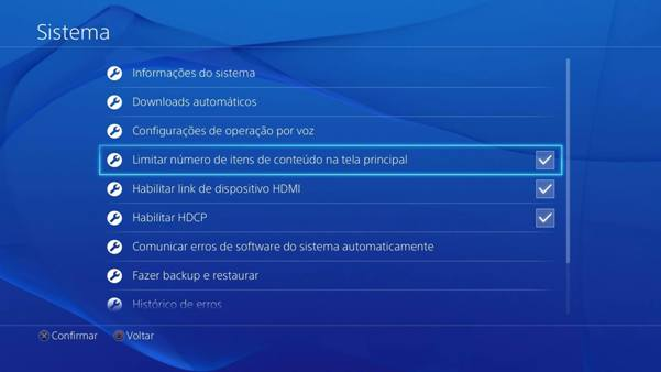 Sistema tela inicial PS4