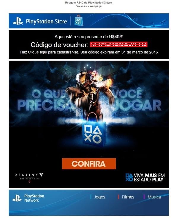 Voucher 40 reais PSN