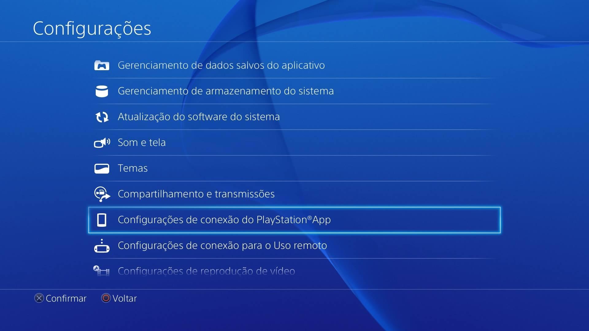 Configurações PlayStation App