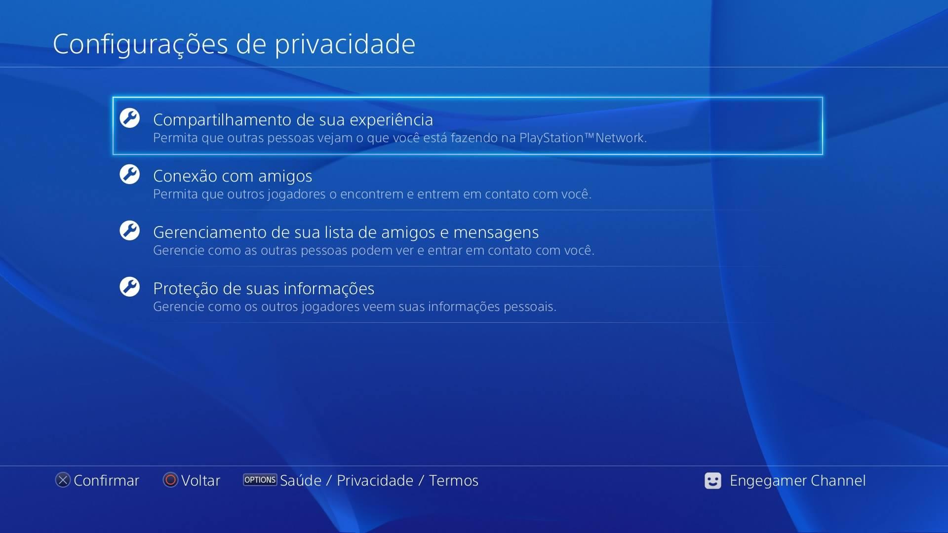 Configurações privacidade