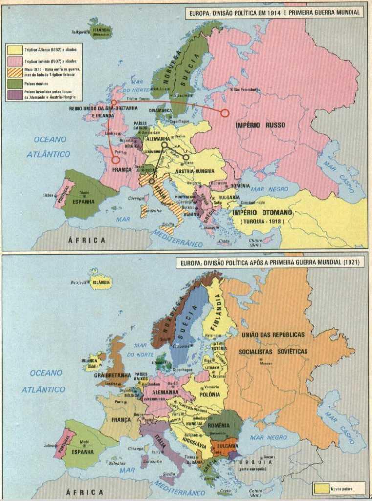 Mapa mostra como a Primeira Guerra mudou a Europa