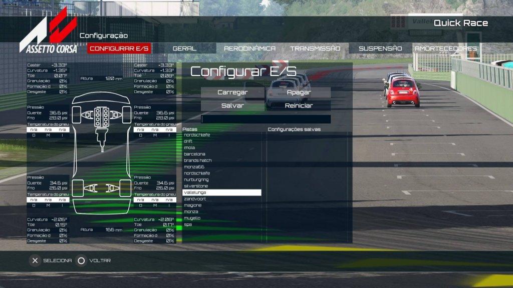 Cada carro pode ser configurado de forma diferente, para cada pista diferente